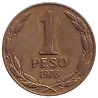 Бернардо О'Хиггинс. Монета 1 песо. 1978 год, Чили.