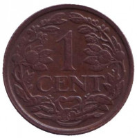 Монета 1 цент. 1939 год, Нидерланды.