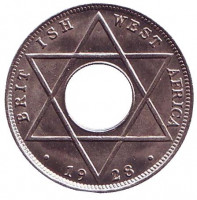 Монета 1/10 пенни. 1928 год, Британская Западная Африка. aUNC. Без отметки монетного двора.