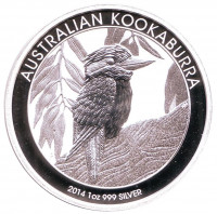 Кукабарра. Монета 1 доллар. 2014 год, Австралия.