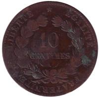 Монета 10 сантимов. 1881 год, Франция.