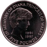 Принцесса Диана. Монета 5 фунтов. 1999 год, Великобритания.