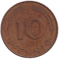 Дубовые листья. Монета 10 пфеннигов. 1979 год (J), ФРГ. (Из обращения).