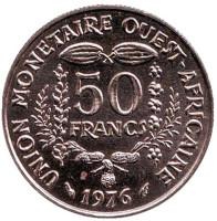 Монета 50 франков. 1976 год, Западные Африканские штаты. UNC.
