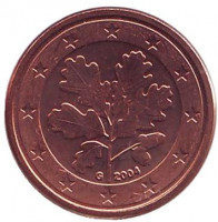 Монета 1 цент. 2004 год (G), Германия.