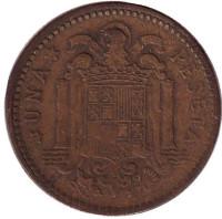 Монета 1 песета. 1947 (1949) год, Испания.