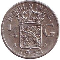 Монета 1/4 гульдена. 1941 год (P), Нидерландская Индия.