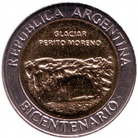 200 лет Аргентине. Ледник Перито-Морено. Монета 1 песо. 2010 год, Аргентина. UNC.