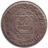 Монета 20 франков. 1947 год, Марокко.