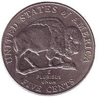 Бизон. Монета 5 центов (D), 2005 год, США. Из обращения.