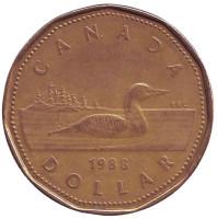 Утка. Монета 1 доллар, 1988 год, Канада.
