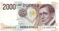 Гульельмо Маркони. Банкнота 2000 лир. 1990 год, Италия.