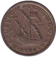 Монета 2,5 эскудо. 1976 год, Португалия.