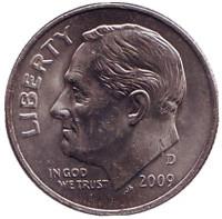 Рузвельт. Монета 10 центов. 2009 (D) год, США.