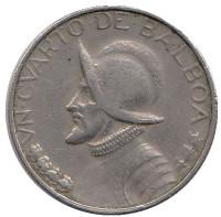 Васко Нуньес де Бальбоа. Монета 1/4 бальбоа. 1968 год, Панама.