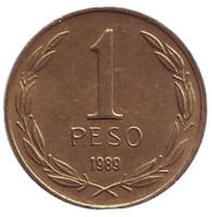 Бернардо О'Хиггинс. Монета 1 песо. 1989 год, Чили.