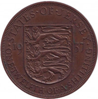 Монета 1/12 шиллинга. 1937 год, Джерси.