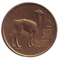 Лама. Монета 1/2 соля. 1974 год, Перу.