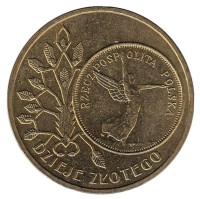 История злотого: 5 злотых образца 1928 года. Монета 2 злотых, 2007 год, Польша. (Ника)