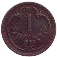 Монета 1 геллер. 1895 год, Австро-Венгерская империя.