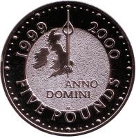 Милленниум. Монета 5 фунтов. 2000 год, Великобритания. (Без изображения Купола тысячелетия)