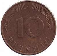 Дубовые листья. Монета 10 пфеннигов. 1982 год (J), ФРГ. (Из обращения).