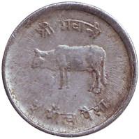 Бык. Монета 5 пайсов. 1982 год, Непал. (Старый тип)