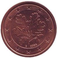 Монета 2 цента. 2004 год (G), Германия.