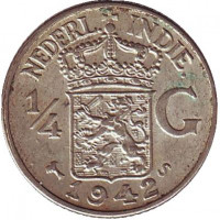 Монета 1/4 гульдена. 1942 год, Нидерландская Индия.