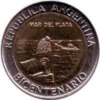 200 лет Аргентине. Мар-дель-Плата. Монета 1 песо. 2010 год, Аргентина. UNC.