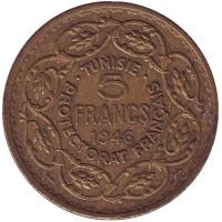Монета 5 франков. 1946 год, Тунис.
