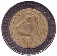Лев. Монета 20 динаров. 2011 год, Алжир.