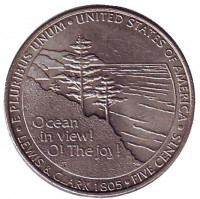 Выход к океану. Монета 5 центов (P), 2005 год, США. Из обращения.