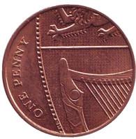 Монета 1 пенни. 2013 год, Великобритания.