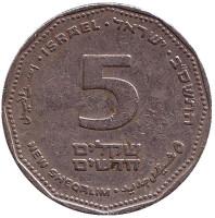 Монета 5 новых шекелей. 2002 год, Израиль.