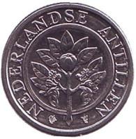 Цветок апельсинового дерева. Монета 1 цент, 2001 год, Нидерландские Антильские острова.