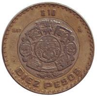Тонатиу. Ацтекский солнечный камень. Орел. Монета 10 песо. 1997 год, Мексика.