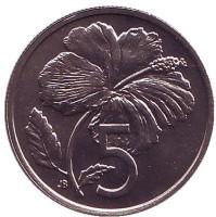 Гибискус. Монета 5 центов. 1974 год, Острова Кука. UNC.