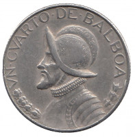 Васко Нуньес де Бальбоа. Монета 1/4 бальбоа. 1970 год, Панама.
