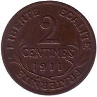 Монета 2 сантима. 1911 год, Франция.