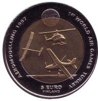 Всемирные воздушные игры в Турции. Воздушный транспорт. Монета 5 евро. 1997 год, Финляндия.