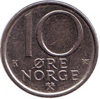 10 эре. 1989 год, Норвегия.
