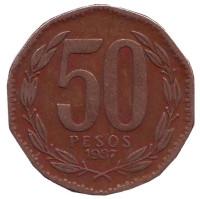 Бернардо О'Хиггинс. Монета 50 песо. 1987 год, Чили.