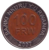 Монета 100 франков. 2007 год, Руанда. Из обращения.