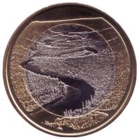 Река Оланга. (Оуланкайоки). Монета 5 евро. 2018 год, Финляндия.