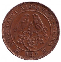 Птицы. Монета 1/4 пенни (фартинг). 1950 год, ЮАР.