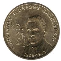 100-летие со дня рождения Константина Ильдефонса Галчинского. Монета 2 злотых, 2005 год, Польша.