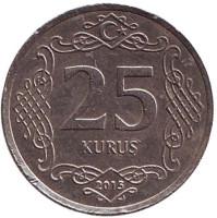 Монета 25 курушей. 2015 год, Турция. Из обращения.