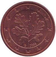 Монета 5 центов. 2004 год (G), Германия.