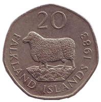 """Овца """"Ромни-марш"""". Монета 20 пенсов. 1983 год, Фолклендские острова."""